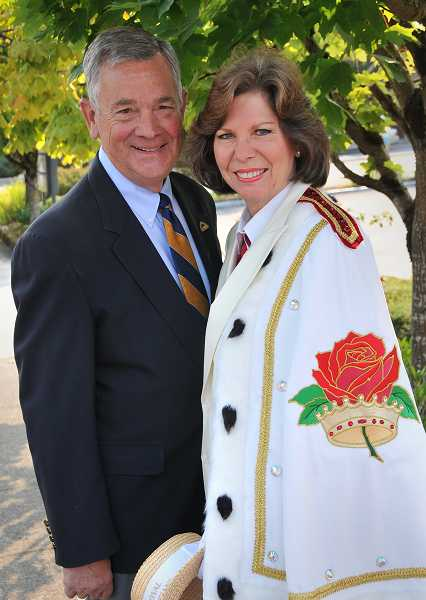 by: VERN UYETAKE - Gayle Whitehurst and her husband, Ed Whitehurst, travel the world promoting the city of Portland through the Royal Rosarians.