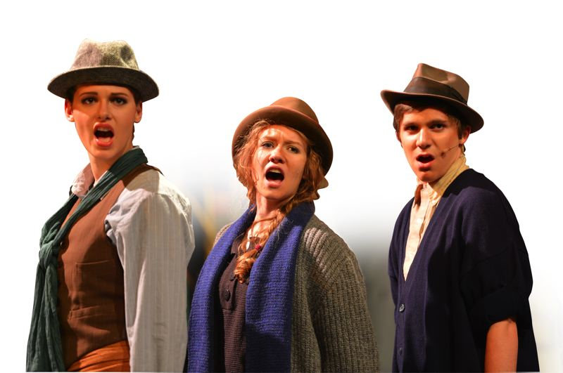 by: SCOTT FRANKLIN - Members of the poor chorus in 'Urinetown' include, left, to right, Chelsea Stores, Emily Derby and James McKinney.