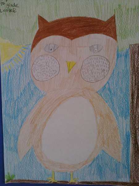 by: JORDY BYRD - Students drew animals such as the owl, above, wolf, fox, bear and deer, at right, which were suggested as mascots.