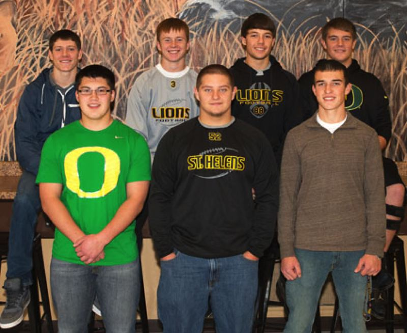 by: JEREMY DUECK - St. Helens football players receiving NWOC all-league honors included: (front, from left) Andrew Gray, Joey Beggio, Nate Reed, (back) Tanner Long, Gage Bumgardner, Corey West, Jacob Zartman.