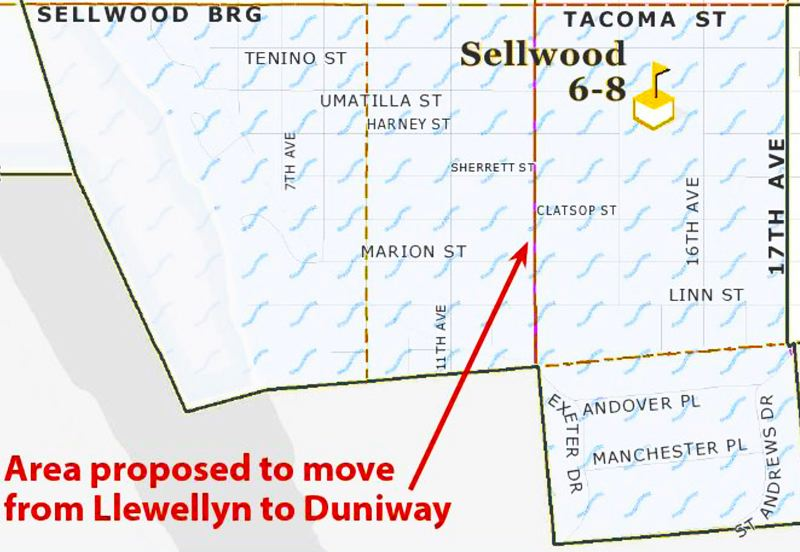 by: GRAPHIC COURTESY OF P.P.S. - This illustration shows the boundary shift in the proposed in the Llewellyn-Duniway enrollment rebalancing plan; the area of Sellwood south of Tacoma and east of 17th would be reassigned to Duniway Elementary School.