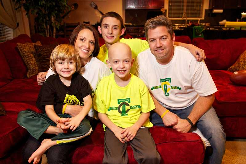 by: TIMES PHOTO: JAIME VALDEZ - Cole Hexum; his parents, Michelle and Brian; and his brothers, Cade, 4, and Tyler, 17, have received tons of support from the community as Cole fights a rare and aggressive form of leukemia.