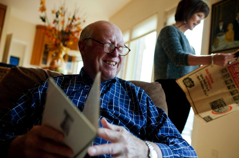 by: PORTLAND TRIBUNE: CHRISTOPHER ONSTOTT - Terry Baker, former Oregon State star quarterback and 1962 Heisman Trophy winner, enjoys some down time at home in Portland with his wife, Barbara.