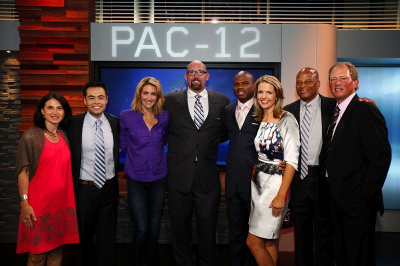 by: COURTESY OF PAC-12 NETWORKS - On launch night of the Pac-12 Networks: (from left) President Lydia Murphy-Stephans, Mike Yam, Summer Sanders, Glenn Parker, Curtis Conway, Ashley Adamson, Ronnie Lott and Rick Neuheisel.