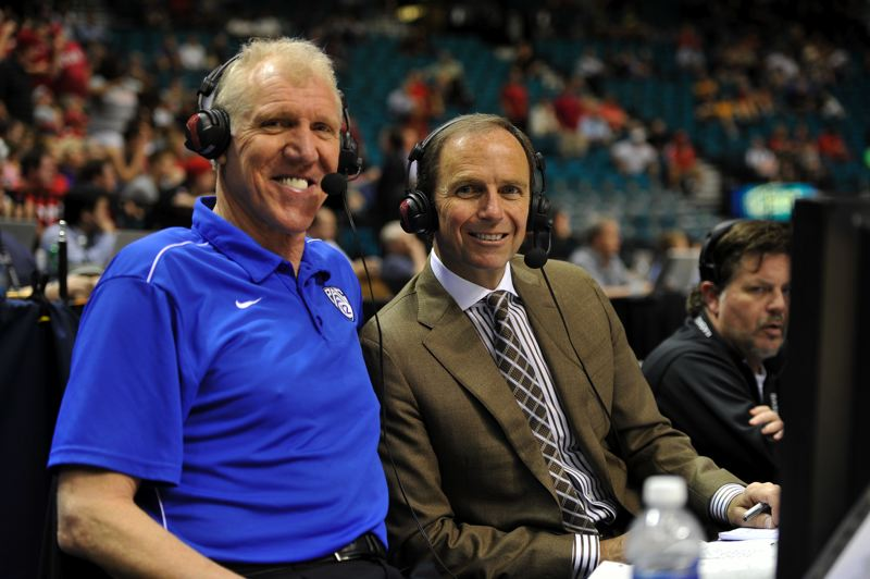 by: COURTESY OF PAC-12 NETWORKS - Ted Robinson (right), working a conference tournament basketball game with Hall of Famer Bill Walton, has been part of a solid corps of play-by-play broadcasters in the first year of the Pac-12 Networks.