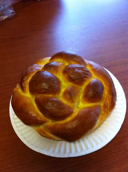 by: REVIEW, TIDINGS PHOTO: BARB RANDALL - Challah bread woven into a circle is a traditional food served at Rosh Hashana. This loaf was made by Dave Minch in preparation and shared with the Review and Tidings staff.