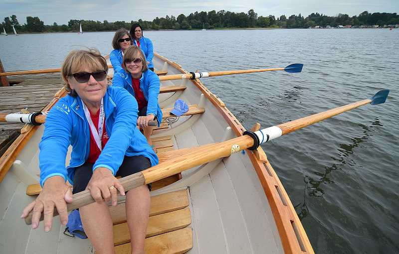 by: REVIEW, TIDINGS PHOTO: VERN UYETAKE - The Rosies have another fun practice session on the Willamette River. They are already getting ready for the next St. Ayles championship in 2016. From front to back are Jann Lane, Pam Werner, Judy Rea and Antoinette Papailioui.