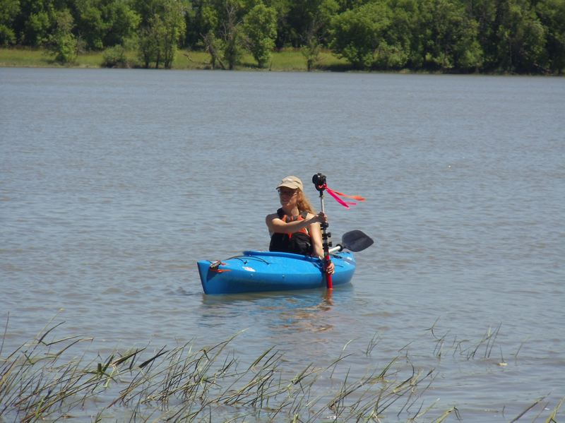 by: SUBMITTED - Michelle Delepine, a conservation technician with the West Multnomah Soil and Water Conservation District makes use of a kayak a to survey the levels of Sauvie Island's Sturgeon lake.