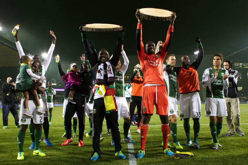 by: TRIBUNE PHOTO: JAIME VALDEZ - The Portland Timbers celebrate their 1-0 home win over the Seattle Sounders on Sunday night at Jeld-Wen Field.