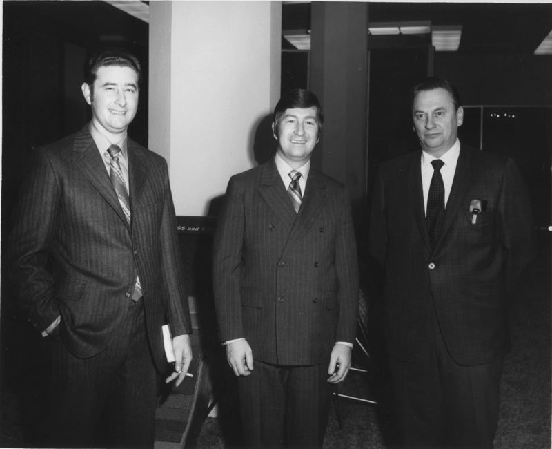 by: CONTRIBUTED PHOTO - In 1969, Crown Carpets founder Bill Lepper, right, and business partner Gary Hohler, left, pose with Chuck Nelson, an executive with Masland Carpets, during a buyers market in San Francisco.