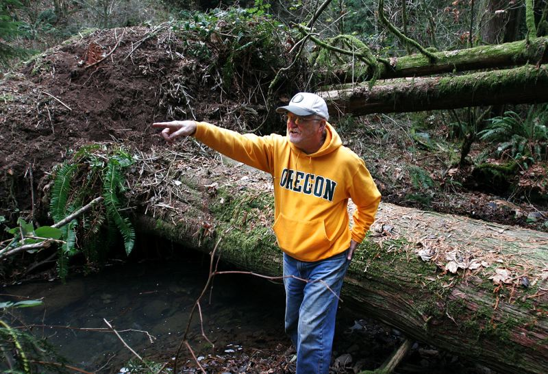 by: OUTLOOK PHOTO: JIM CLARK - John Freuler points up the creek where coho salmon continued their journey.