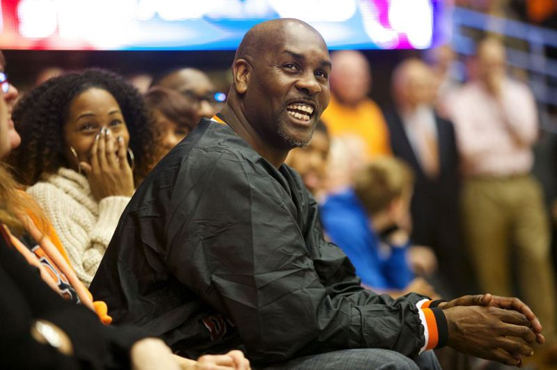 by: TRIBUNE PHOTO: JAIME VALDEZ - Gary Payton, former Oregon State All-American guard, watches a video in his honor.