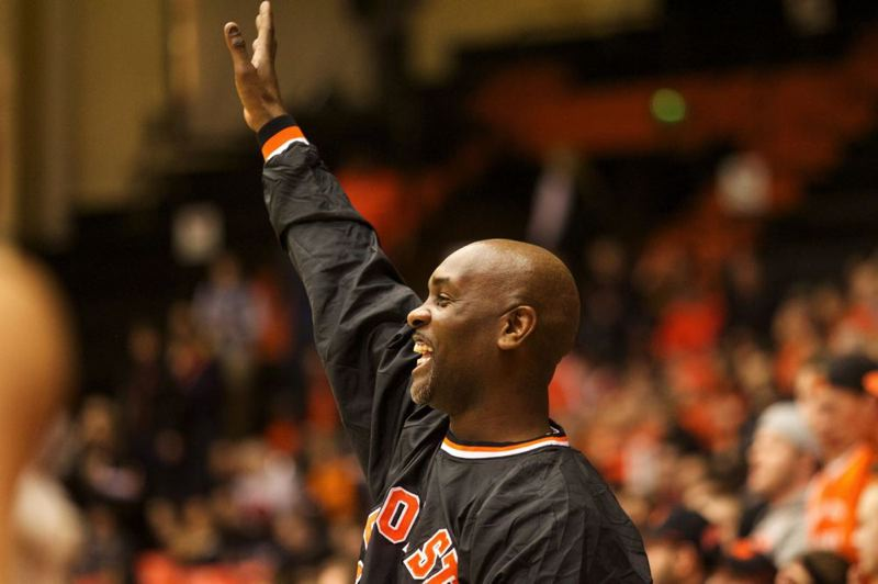 by: TRIBUNE PHOTO: JAIME VALDEZ - Gary Payton waves to the crowd at Gill Coliseum.