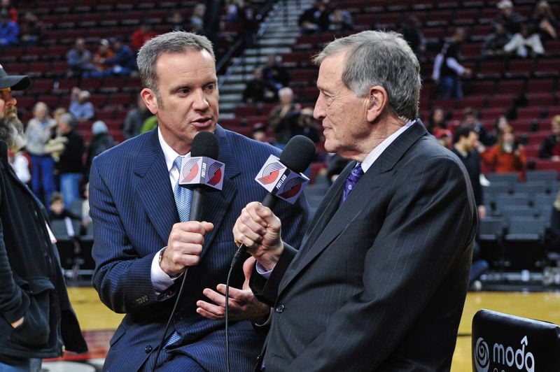 by: COURTESY OF JOHN LARIVIERE - Mike Barrett (left) and Blazers analyst Mike Rice discuss the particulars of the upcoming Portland-Minnesota game Saturday night at Moda Center.