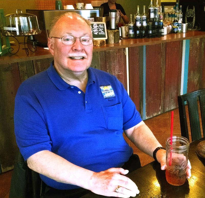 by: OUTLOOK PHOTO: CARI HACHMANN - Fairview Mayor Mike Weatherby at Stomping Grounds coffee shop.