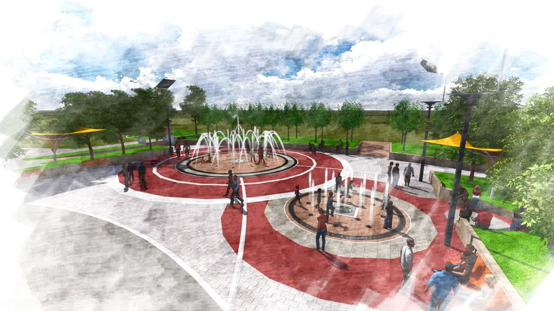 by: CONTRIBUTED DRAWING: THE CITY OF GRESHAM - This is an artists rendering of the new Childrens Fountain at the Gresham Center for the Arts Plaza between Second and Third streets and Hood and Kelly avenues in downtown Gresham. The fountain is expected to open in time for the Fourth of July.