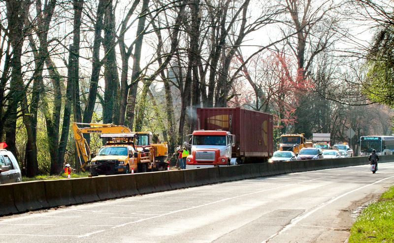 by: DAVID F. ASHTON - The removal of 45 hazardous trees caused some highway traffic congestion along northbound S.E. McLoughlin Boulevard in March.