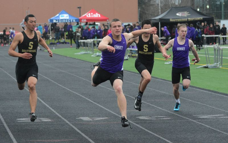 by: TIMES PHOTO: MATT SINGLEDECKER - Sunset senior A.J. Smith won three events against Southridge on Thursday including the 100-meter dash. Smith ran a 11.47, good enough for fifth in Metro.