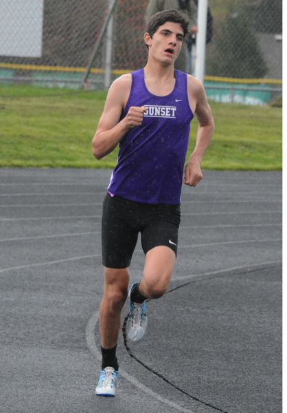 by: TIMES PHOTO: MATT SINGLEDECKER - Sunset junior Mark Sussman took first in the 1,500 to help Sunset beat Southridge on Thursday.
