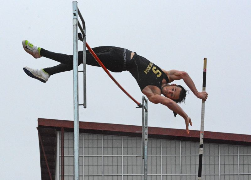 by: TIMES PHOTO: MATT SINGLEDECKER - Southridge senior Riley Temple won the pole vault against Sunset on Thursday by clearing 11-06.