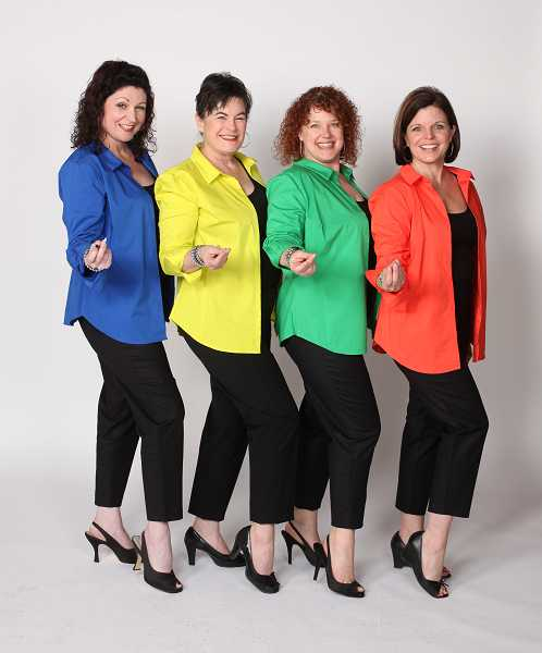 by: SUBMITTED PHOTO: CRAIG MITCHELLDYER - In 'The Bikinis,' (from left) Lisamarie Harrison, Sharon Maroney, Emily Sahler and Laurie Campbell-Leslie as the reunited 1960s girl group the Bikinis are ready to belt out some songs from their heyday to save a mobile home beach resort.