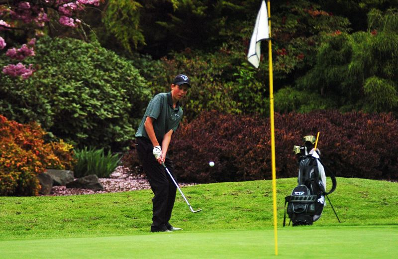 by: DAN BROOD - FAB FROSH -- Tigard High School freshman Jon Holzgang chips onto the 18th green during Monday's Pacific Conference tournament.