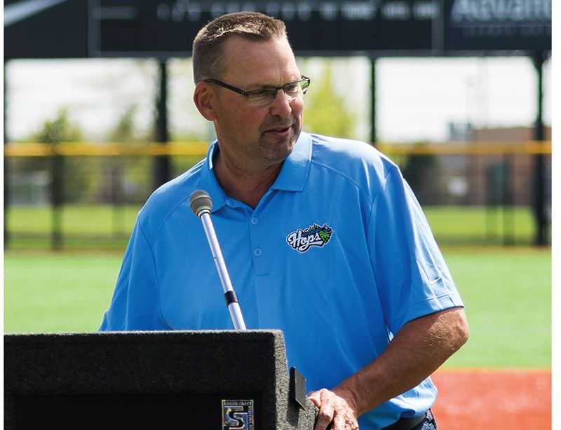 by: HILLSBORO TRIBUNE PHOTO: CHASE ALLGOOD - Hillsboro Hops hitting coach and former Major Leaguer Mark Grace addresses the media during an event last Friday at Hillsboro Ballpark.