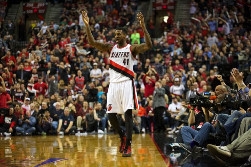 Backup forward Thomas Robinson fires up the Portland crowd.