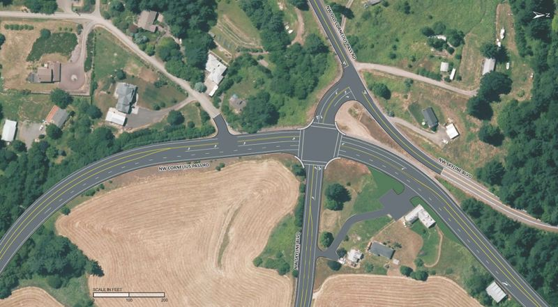 by: COURTESY OF MULTNOMAH COUNTY - A map showing what a signal intersection at Northwest Cornelius Pass Road and Northwest Skyline Boulevard might look like from above.