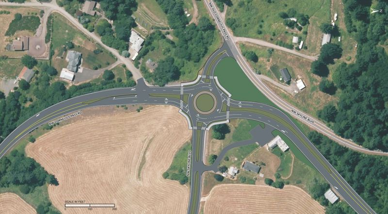 by: COURTESY OF MULTNOMAH COUNTY - A map showing what a roundabout at Northwest Cornelius Pass Road and Northwest Skyline Boulevard might look like from above.