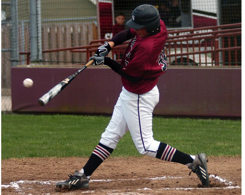 by: DAN BROOD - SMACK -- Sherwood sophomore Adley Rutschman gets his bat of the ball during the Bowmen's win over Liberty.