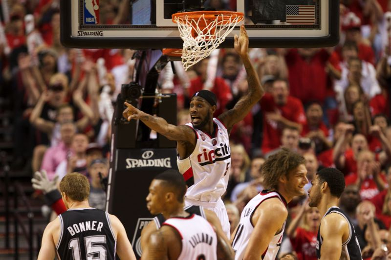 by: TRIBUNE PHOTO: JAIME VALDEZ - Trail Blazers guard Will Barton (5) reacts after dunking against the Spurs in the second half of  game four. The Blazers will play game 5 Wednesday night in San Antonio.