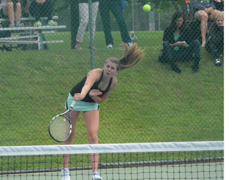 by: TIMES PHOTO: MATT SINGLEDECKER - Jesuit's Erin Larner won her fourth straight district championship on Saturday, beating Lincolns Cam Kincaid, 6-0, 6-1.