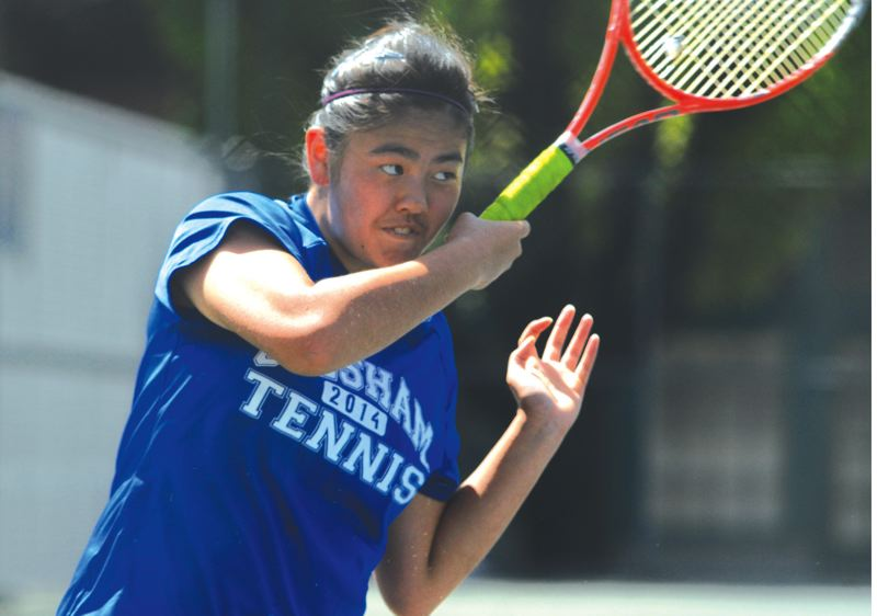 by: THE OUTLOOK: DAVID BALL - Gresham High senior Jessica Emoto returns a forehand blast during her 6-0, 6-2 second-round win Thursday.