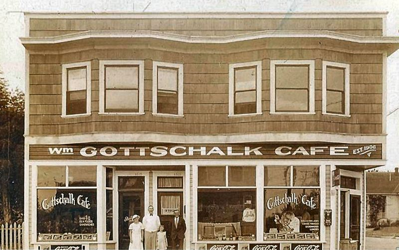 by: COURTESY OF ELSIE TSCHIDA HEINEMAM - This is a photo of the Gottschalk Cafe and Beer Parlor, established in 1906. Bill Gottschalk was forced to leave San Francisco after the big earthquake and fire in that year. He built this structure and, aided by his relatives the Tshidas, the cafe catered to area residents for over 49 years. It is now the Sellwood Inn Pub at the corner of 17th and Umatilla.