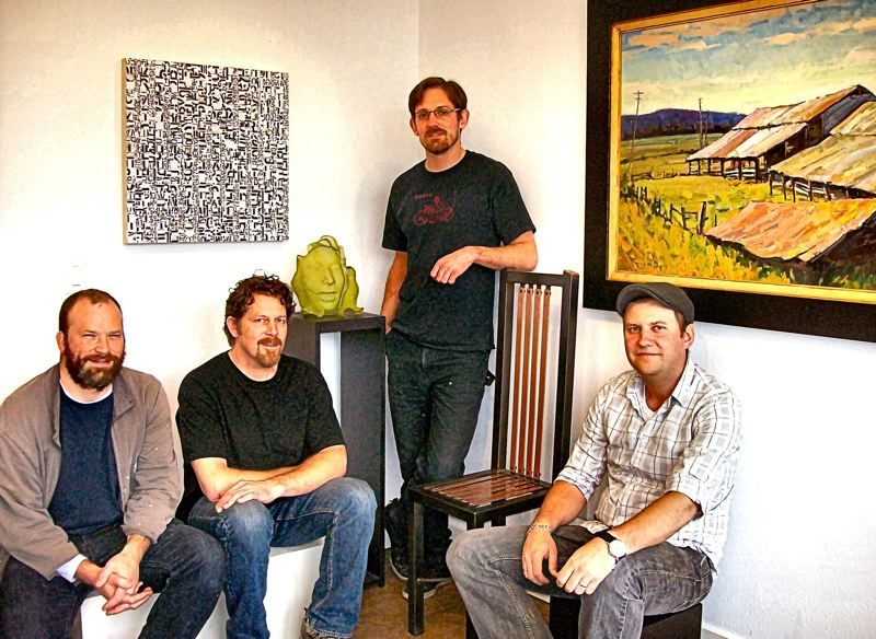 by: RITA A. LEONARD - Gideon Street Studios, just north of Powell Boulevard, provides work and exhibit space for four local artists. The creative quartet, from left: Todd Sargood, Eric Boyer, Jacob Ryder, and Anton Pavlenko.