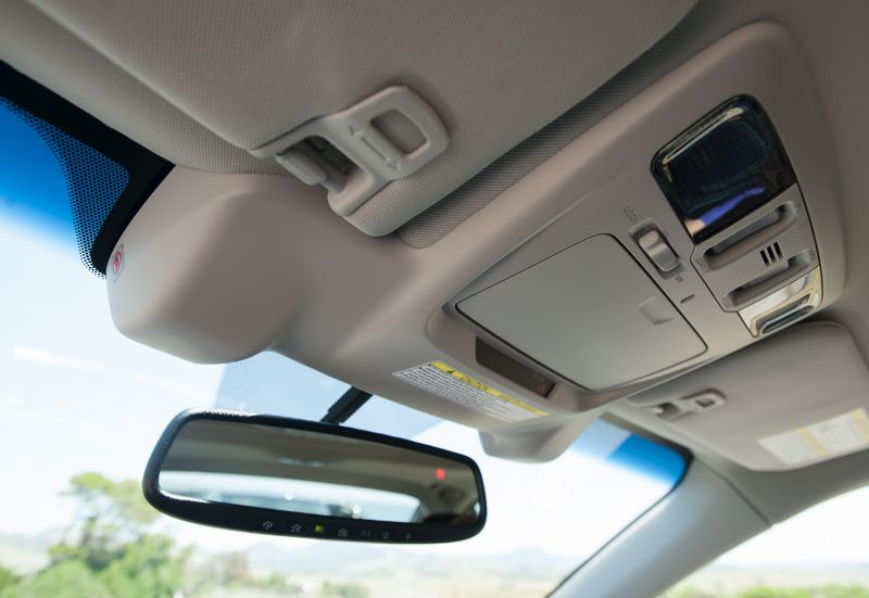 by: JOHN M. VINCENT - Cameras for the third generation EyeSight driver assistance system are tucked neatly into the headliner. They're smaller than ever, and cover a wider viewing angle.