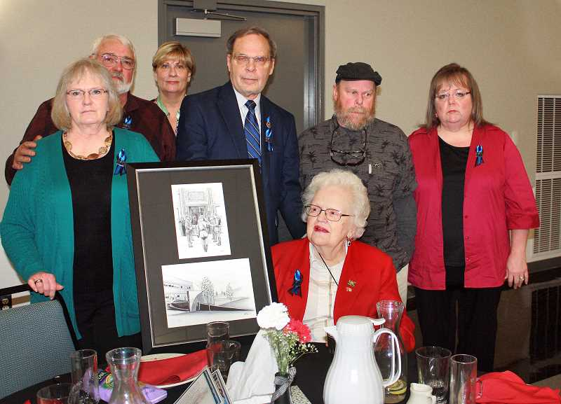 by: CONTRIBUTED - Neva Levinson, center, was honored during the annual Oregon Law Enforcement Memorial Survivors and Family Luncheon in Salem, May 6.