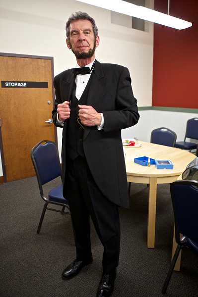 by: TIMES PHOTO: JAIME VALDEZ - Steve Holgate as Abraham Lincoln stands ready to address seniors at the Sherwood Senior Community Center as part of a one-man, two-act play.