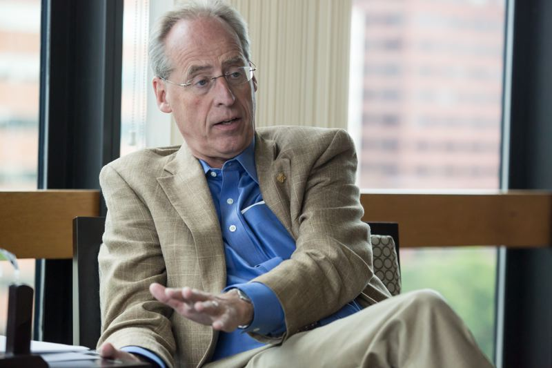 by: TRIBUNE PHOTO: JONATHAN HOUSE - PSU President Wim Wiewel worked with Mayor Charlie Hales to reconfigure an urban renewal district that included the university. The changes will help development in downtown while aiding campus projects.