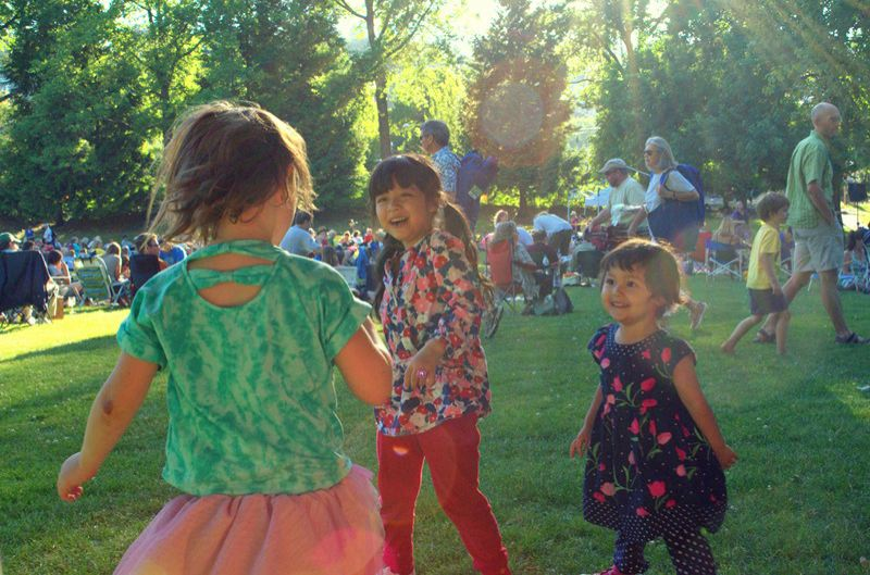 by: PHOTOS COURTESY OF PORTLAND PARKS AND RECREATION - The best part of the parks events: theyre free. And, being on grass, it allows the kids to dance and play.