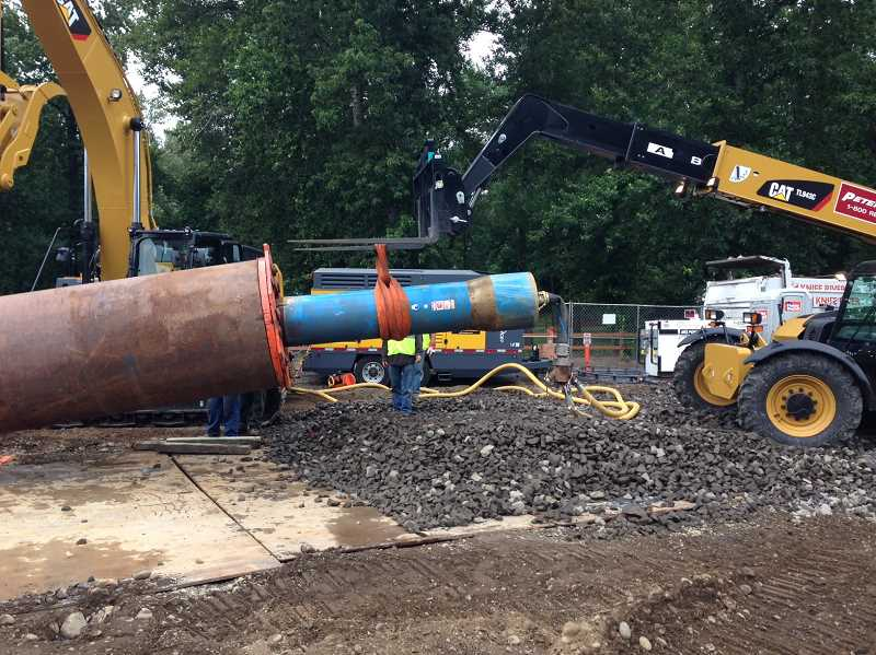 by: SUBMITTED PHOTO - A pressurized hammer will be used to install 60-inch steel pipe casing at the LOT horizontal drilling site, causing an increase in noise for about two weeks.