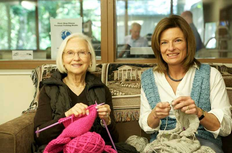 by: SUBMITTED PHOTO: DAVID BIRCH - Darlene Davies, left, and Kat Riley sit and knit. Riley teaches knitting classes at the Lake Oswego Adult Community Center. Call the center for details.