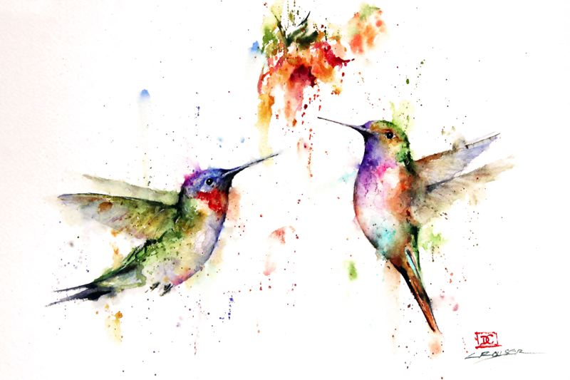 by: CONTRIBUTED PHOTO - Dean Crouser specializes in paintings of hummingbirds, like the ones pictured in Twos Company, one of the pieces hell exhibit at the Gresham Arts Festival.