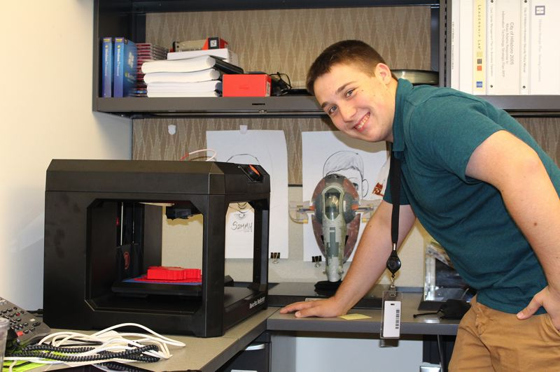 by: COURTESY PHOTO - Jordan Stoll, who is heading into his senior year at Century High School, is working to develop more effective ways for the city to use its 3-D printer in his internship with the citys Information Services Department.