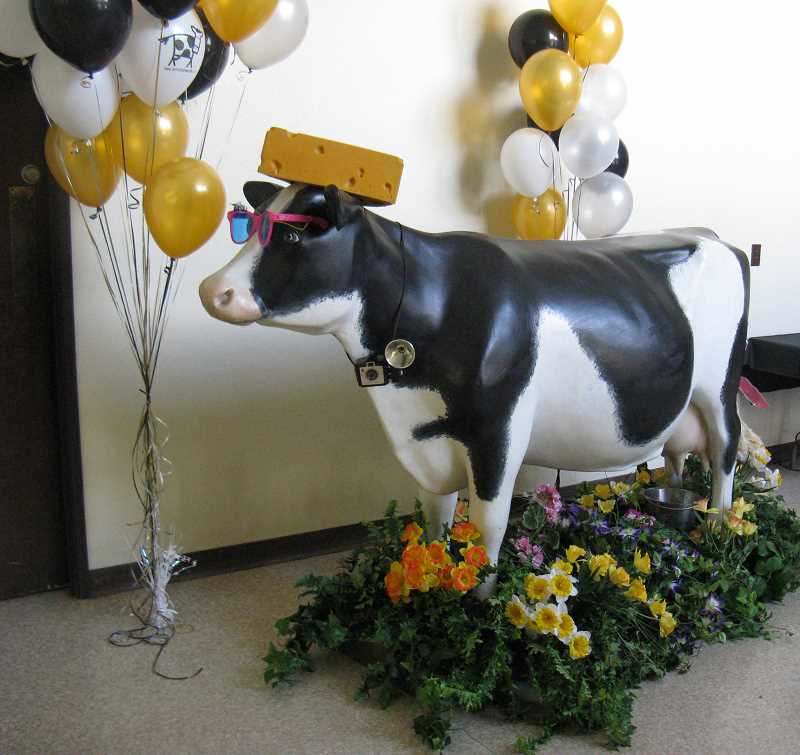 by: COURTESY PHOTO: WASHINGTON COUNTY DAIRY WOMEN - Betsy, the Washington County Dairy Womens fiberglass mascot, is decked out in sunglasses and a cheesehead. Betsy will neither confirm nor deny she is a Green Bay Packers fan.