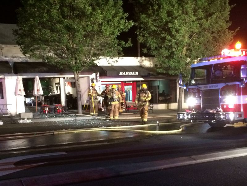 by: LAKE OSWEGO FIRE DEPARTMENT - The windows were blown out of the Scratch Restaurant by a late Saturday explosion.