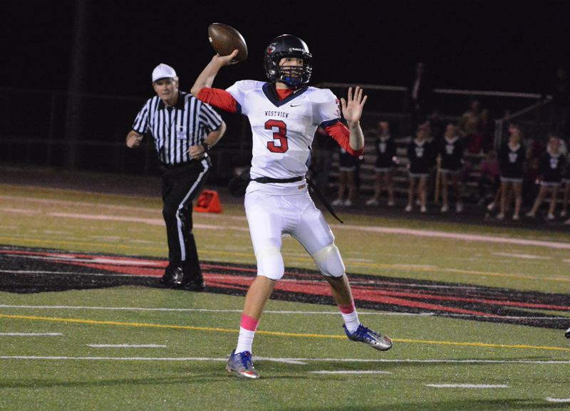 by: TIMES PHOTO: MATT SINGLEDECKER - Westview senior quarterback Austin Brisbee threw for a league-high 2,586 passing yards and 22 touchdowns while also running for five scores last year.