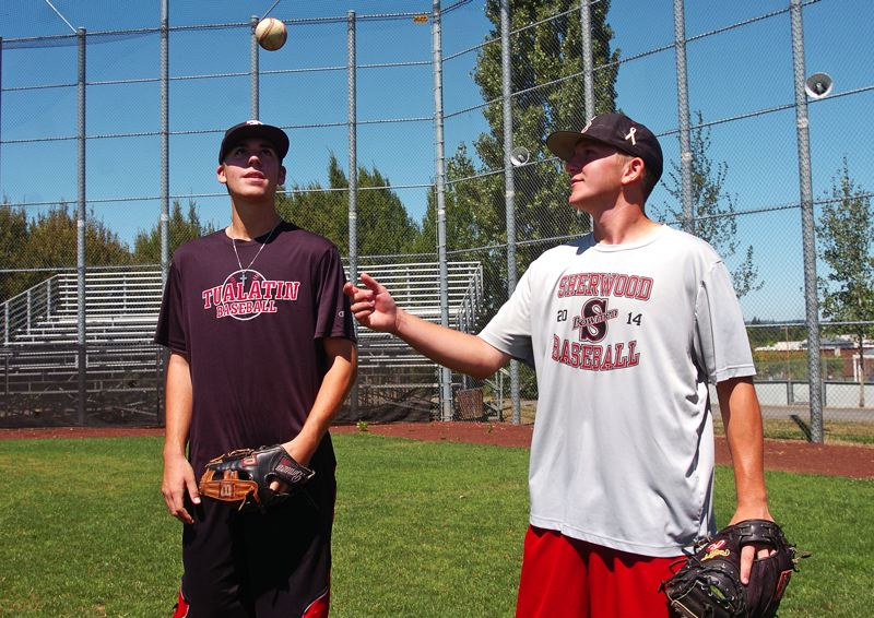 Photo Credit: DAN BROOD - TWO OF A KIND -- Tualatin High School senior-to-be Jacob Bennett (left) and Sherwood senior-to-be Zak Taylor are both playing in the Area Codes Games this week in California.