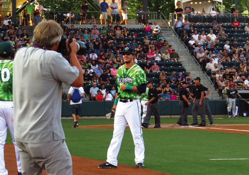 Photo Credit: HILLSBORO TRIBUNE PHOTO: ZACK PALMER - Hillsboro outfielder Grant Heyman soaks up the sights and sounds from Tuesday's Northwest League all-star game at PK Park in Eugene. Heyman was selected to start in left field.